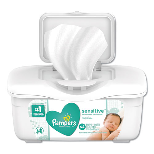 Sensitive Baby Wipes, White, Cotton, Unscented, 64/Tub | by Plexsupply