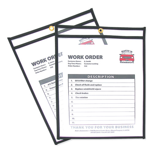 Shop Ticket Holders, Stitched, Both Sides Clear, 75 Sheets, 9 x 12, 25/Box | by Plexsupply