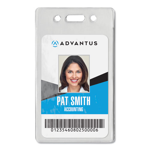 Proximity ID Badge Holder, Vertical, 2 3/8w x 3 3/8h, Clear, 50/Pack | by Plexsupply