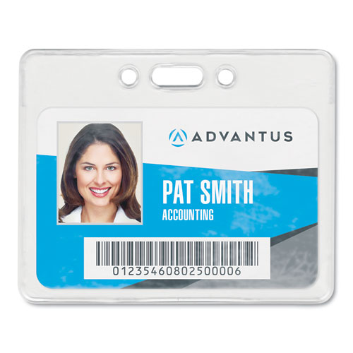 Proximity ID Badge Holder, Horizontal, 3 3/8w x 2 3/8h, Clear, 50/Pack   by Plexsupply