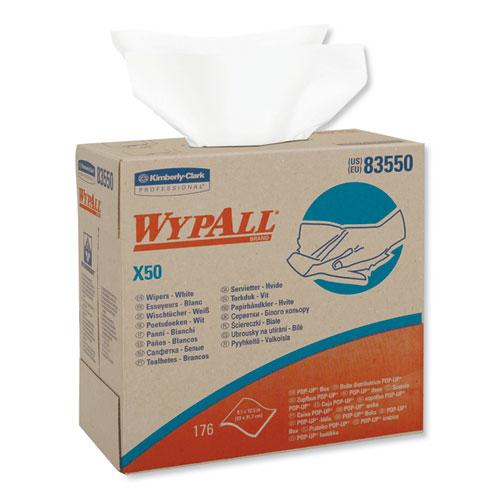 WypAll® X50 Cloths, POP-UP Box, 9 1/10 x 12 1/2, White, 176/Box, 10 Boxes/Carton