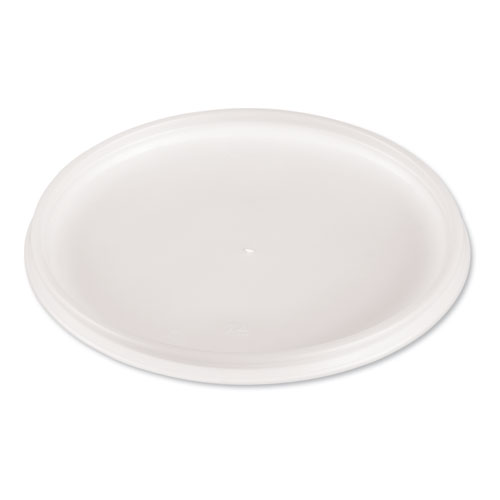 Plastic Lids for Foam Cups, Bowls and Containers, Flat, Vented, Fits 12-60 oz, Translucent, 500/Carton