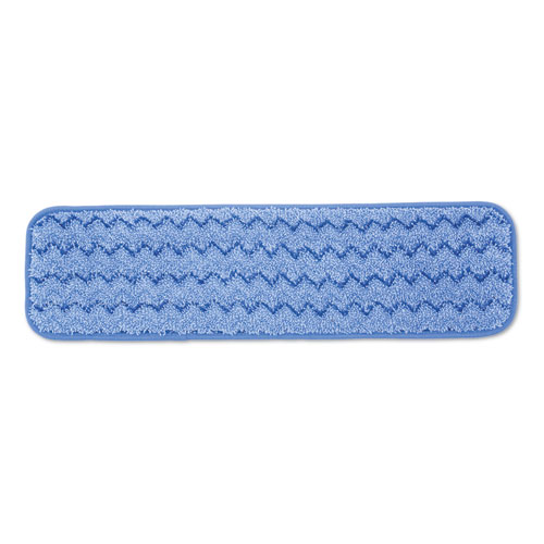 "Rubbermaid® Commercial Microfiber Wet Room Pad, Split Nylon/Polyester Blend, 18"", Blue, 12/Carton"