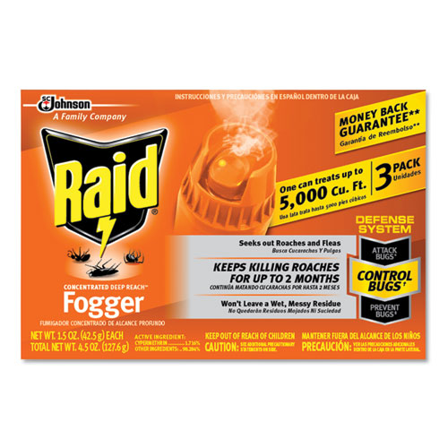 Raid® Concentrated Deep Reach Fogger, 1.5 oz Aerosol Can, 3/Pack, 12 Packs/Carton