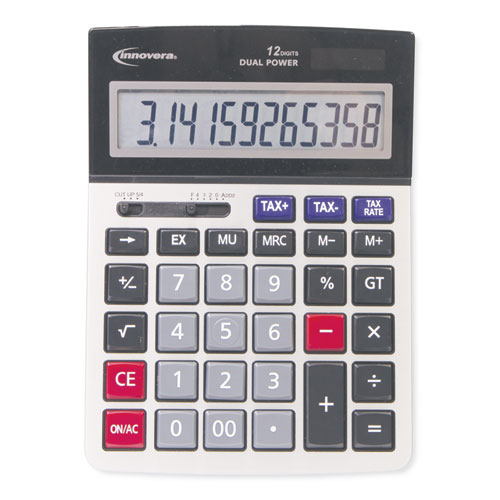 15975 Large Display Calculator, Dual Power, 12-Digit LCD Display | by Plexsupply