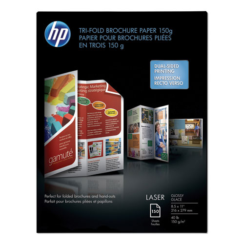 Laser Glossy Tri-Fold Brochure Paper, 97 Bright, 40lb, 8.5 x 11, White, 150/Pack