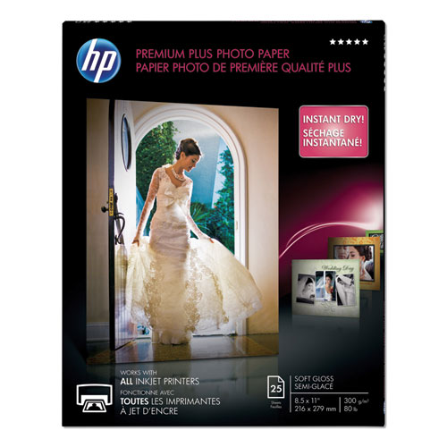 HP Premium Plus Photo Paper, 80 lbs., Soft-Gloss, 8-1/2 x 11, 25 Sheets/Pack