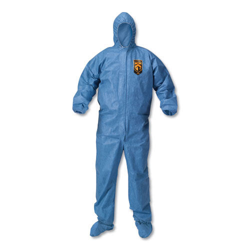 A60 Blood and Chemical Splash Protection Coveralls, X-Large, Blue, 24/Carton