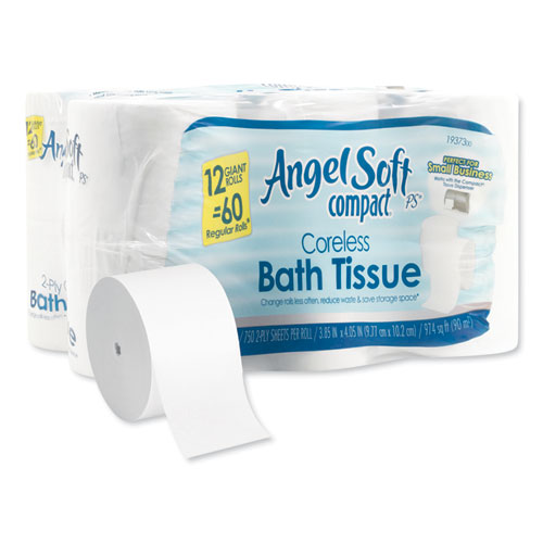 Georgia Pacific® Professional Angel Soft ps Compact Coreless Bath Tissue, 2-Ply, WE, 750 Sheets/Roll, 12 RL/CT