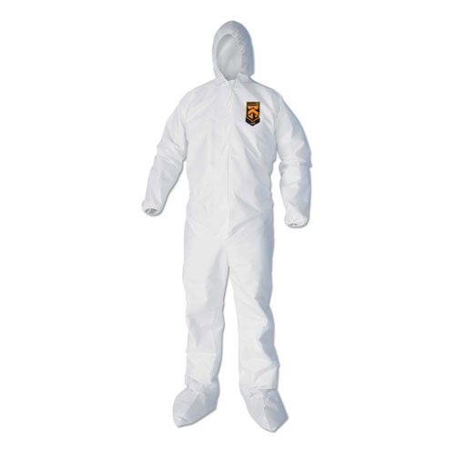 A40 Elastic-Cuff, Ankle, Hood  Boot Coveralls, White, 3X-Large, 25/Carton