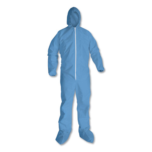 A65 Hood & Boot Flame-Resistant Coveralls, Blue, 4X-Large, 21/Carton | by Plexsupply