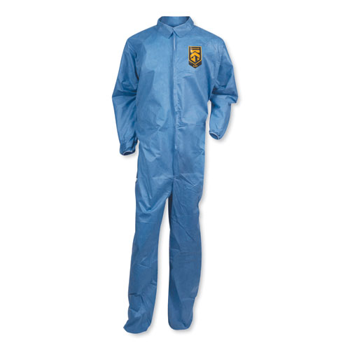A20 Coveralls, MICROFORCE Barrier SMS Fabric, Blue, X-Large, 24/Carton | by Plexsupply