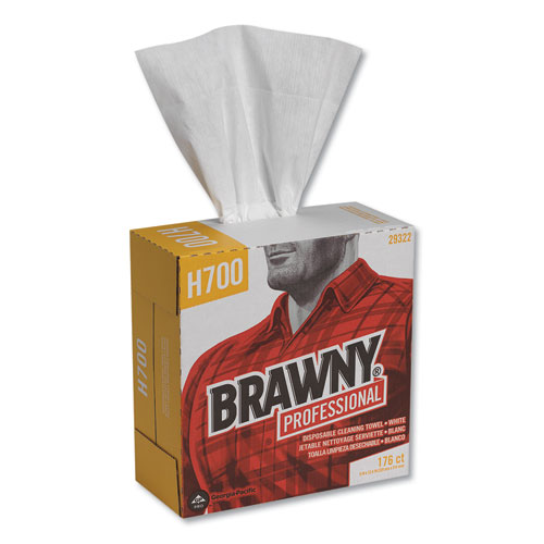 Brawny Industrial® Heavyweight HEF Disposable Shop Towels, 9x12.5, White, 176/Box, 10 Box/Crtn
