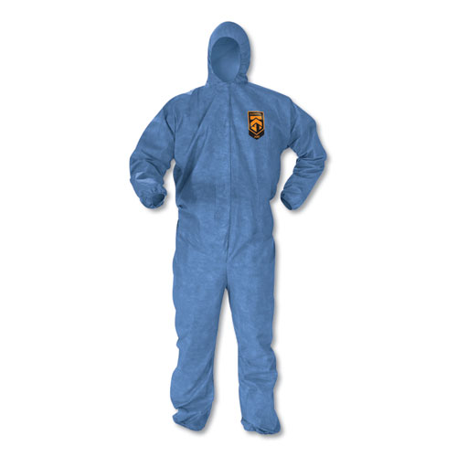 A60 Elastic-Cuff, Ankles & Back Hooded Coveralls, Blue, Large, 24/case