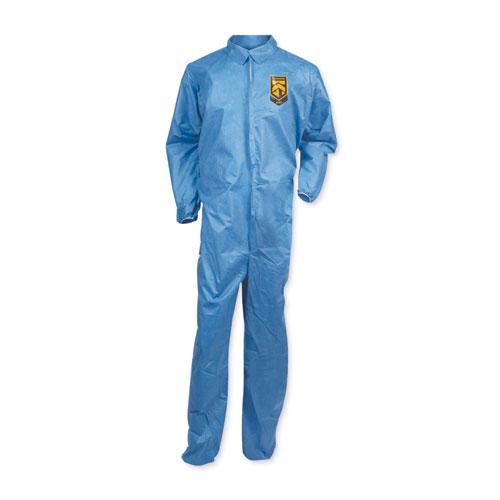 A20 Coveralls, MICROFORCE Barrier SMS Fabric, Blue, 2X-Large, 24/Carton | by Plexsupply