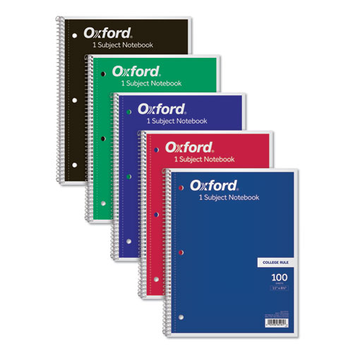 Coil-Lock Wirebound Notebooks, 1 Subject, Medium/College Rule, Assorted Color Covers, 11 x 8.5, 100 Sheets   by Plexsupply