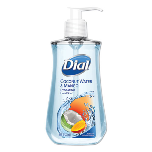 Dial® Liquid Hand Soap, 7 1/2 oz Pump Bottle, Coconut Water and Mango,12/Carton