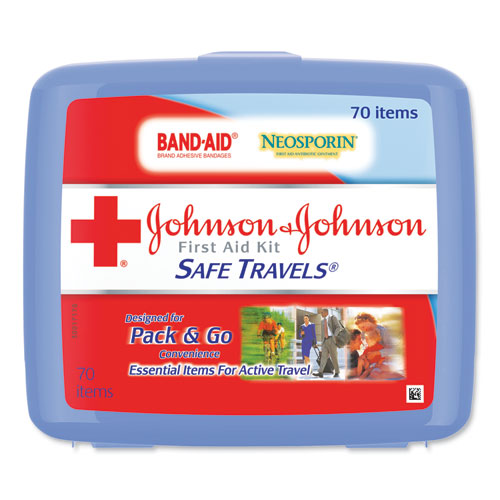 Johnson & Johnson® Red Cross® Portable Travel First Aid Kit, 70-Pieces, Plastic Case