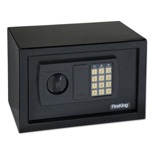 Small Personal Safe, 0.3 cu ft, 12.25w x 7.75d x 7.75h, Black | by Plexsupply