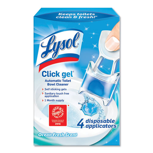 Click Gel Automatic Toilet Bowl Cleaner, Ocean Fresh, 0.68 oz, 4/Box