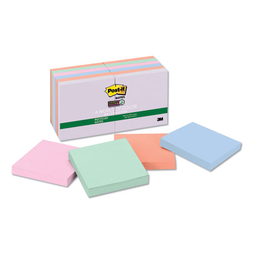 Post-it® Notes Super Sticky Recycled Notes in Bali Colors, 3 x 3, 90-Sheet, 12/Pack