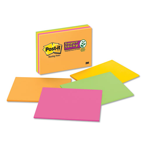 Super Sticky Meeting Notes in Rio de Janeiro Colors, 8 x 6, 45-Sheet, 4/Pack | by Plexsupply