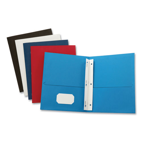 Leatherette Two Pocket Portfolio with Fasteners, 8 1/2 x 11, Assorted, 10/PK