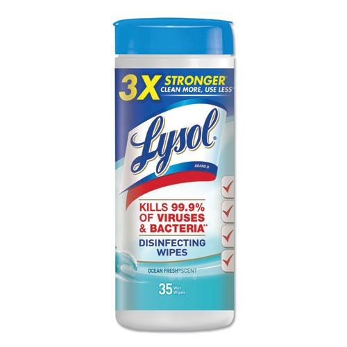 LYSOL® Brand Disinfecting Wipes, 7 x 8, Ocean Fresh, 35 Wipes/Canister, 12 Canisters/Carton