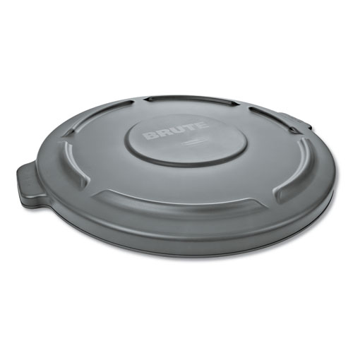 "Round Flat Top Lid, for 32 gal Round BRUTE Containers, 22.25"" diameter, Gray 