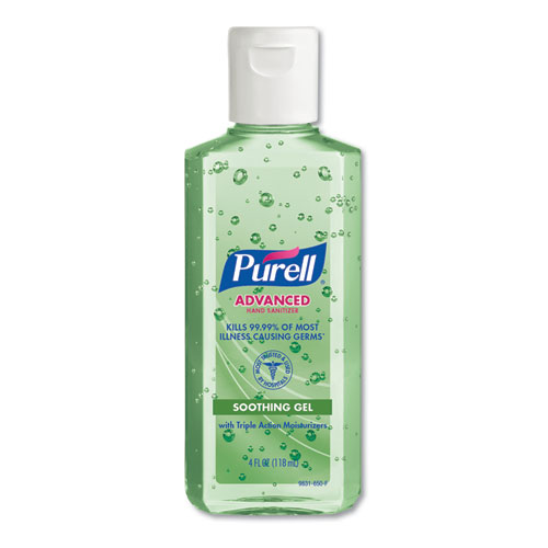PURELL® Advanced Soothing Gel Hand Sanitizer, Fresh Scent with Aloe and Vitamin E, Flip-Cap Bottle, 4 oz, 24/Carton