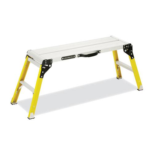 Fiberglass Mini Working Platform Step Stool, 1-Step, 300 lb Capacity, 21 High, Yellow