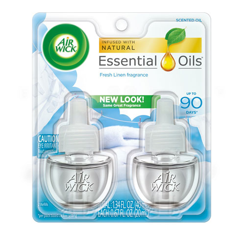 Scented Oil Refill, Fresh Linen, 0.67 oz, 2/Pack