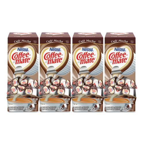 Liquid Coffee Creamer, Cafe Mocha, 0.38 oz Mini Cups, 50/Box, 4 Boxes/Carton, 200 Total/Carton | by Plexsupply