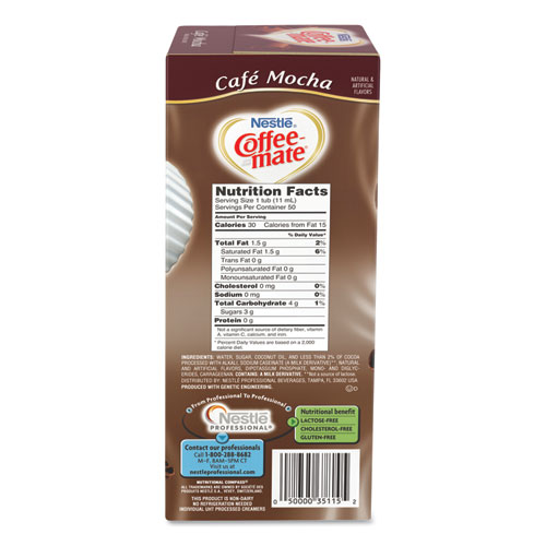 Liquid Coffee Creamer, Caf Mocha, 0 375 oz Cups, 50/Box, 4