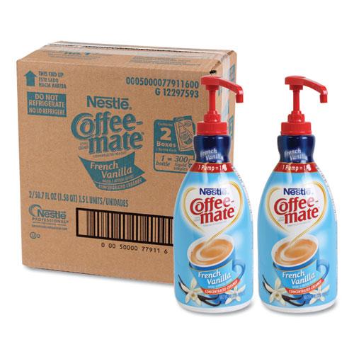 Liquid Coffee Creamer, French Vanilla, 1.5 Liter Pump Bottle, 2/Carton | by Plexsupply