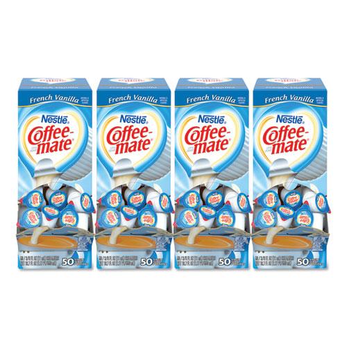 Coffee-mate® Liquid Coffee Creamer, French Vanilla, 0.38 oz Mini Cups, 50/Box, 4 Boxes/Carton, 200 Total/Carton