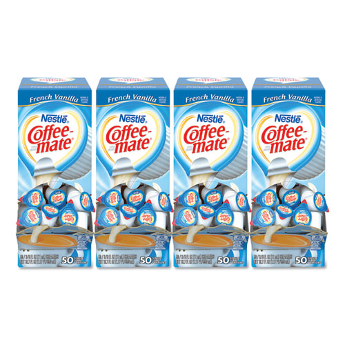 Liquid Coffee Creamer, French Vanilla, 0.38 oz Mini Cups, 50/Box, 4 Boxes/Carton, 200 Total/Carton | by Plexsupply