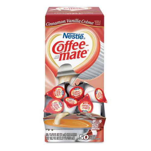 Liquid Coffee Creamer, Cinnamon Vanilla, 0.38 oz Mini Cups, 50/Box | by Plexsupply