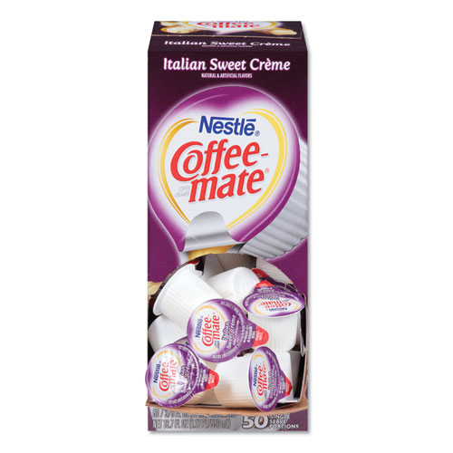 Liquid Coffee Creamer, Italian Sweet Creme, 0.38 oz Mini Cups, 50/Box | by Plexsupply