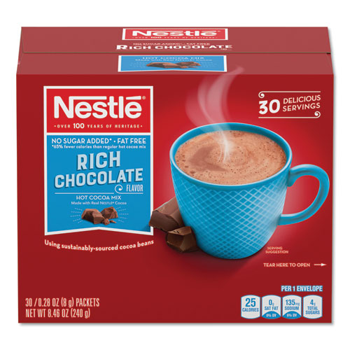 No-Sugar-Added Hot Cocoa Mix Envelopes, Rich Chocolate, 0.28 oz Packet, 30/Box