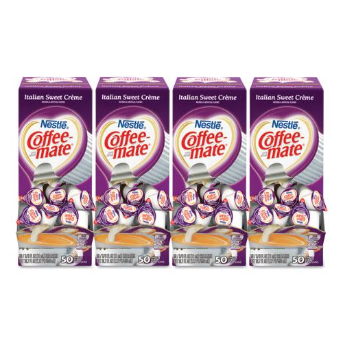 Liquid Coffee Creamer, Italian Sweet Creme, 0.38 oz Mini Cups, 50/Box, 4 Boxes/Carton, 200 Total/Carton | by Plexsupply