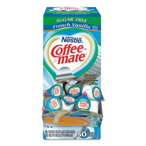Liquid Coffee Creamer, Sugar-Free French Vanilla, 0.38 oz Mini Cups, 50/Box | by Plexsupply