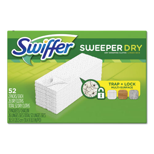 Dry Refill Cloths, White, 10 2/5 x 8, 52/Box, 3 Boxes/Carton