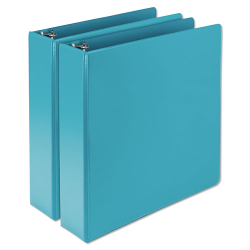 """Earth's Choice Biobased Durable Fashion View Binder, 3 Rings, 2"""" Capacity, 11 x 8.5, Turquoise, 2/Pack 