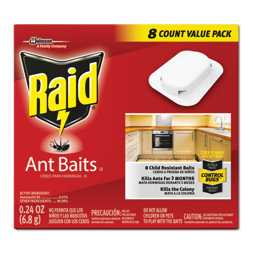 Raid® Ant Baits, 0.24 oz, 8/Box, 12 Boxes/Carton