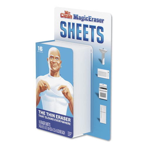 "Mr. Clean® Magic Eraser Sheets, 3 1/2"" x 5 4/5"" x 0.03"", White, 16/Pack, 8 Pack/Carton"