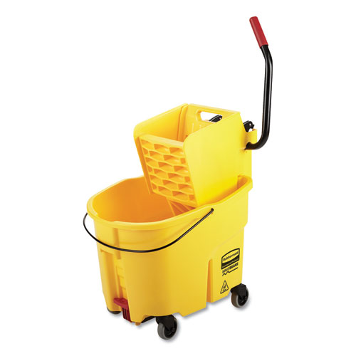Rubbermaid® Commercial WaveBrake 2.0 Bucket/Wringer Combos, 8.75 gal, Side Press with Drain, Yellow