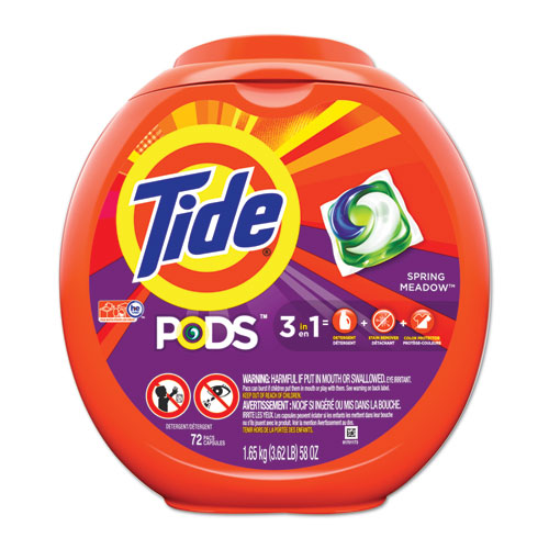 Detergent Pods, Spring Meadow Scent, 72 Pods/Pack | by Plexsupply