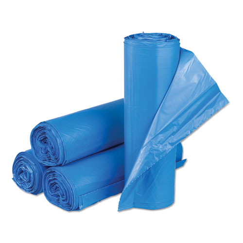 High-Density Commercial Can Liners, 33 gal, 14 microns, 30 x 43, Blue, 250/Carton