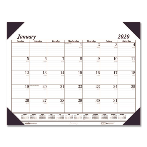 Recycled Workstation-Size One-Color Monthly Desk Pad Calendar, 18 1/2 x 13, 2020 | by Plexsupply